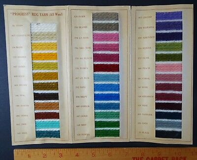 RARE Advertising Antique Catalog w Samples 1920  Progress Wool Hooked Rug Yarn