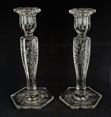 Pair Of Etched Floral Glass Candlesticks Depression Era Elegant