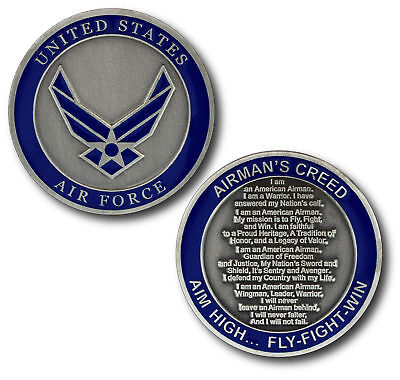 "Air Force Airman's Creed 1.75"" Aim High Fly Fight Win  Challenge Coin"