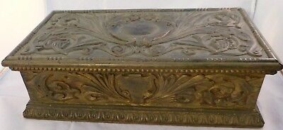 Antique VICTORIAN Carved Wooden BOX Worn Gold Paint