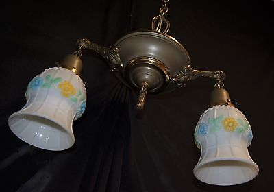 Vtg Deco Era Victorian Brass Chandelier Glass Shades Ceiling Light Fixture 20's