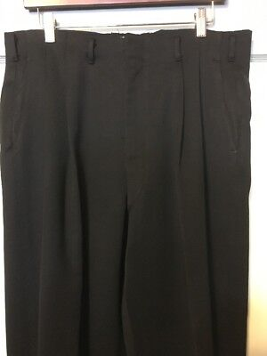 Vtg Black Gabardine Dress Slacks VLV Greaser Pants Gab Drop Loop Mens 34-30 50s