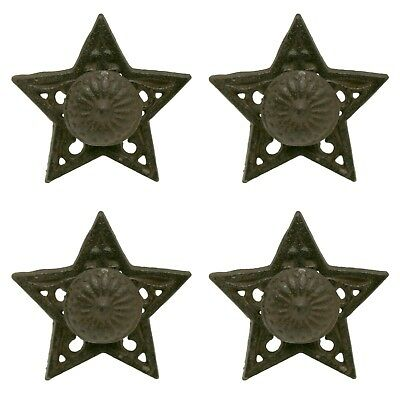 Primitive Star Shaped Drawer or Cabinet Pulls Cast Iron Set of 4