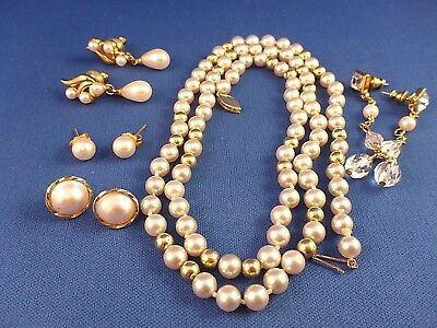 Lot Of 5~Vintage Retro~1 Synthetic Pearl Necklace 14K Gold Clasp & 4 Earrings