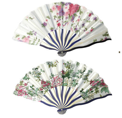 Women Ladies's Wood Handle Fabric Folding Hand Fan 8-inch long, Flower Painting