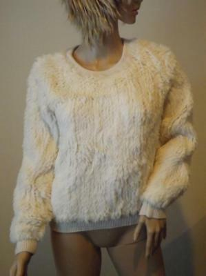 NWOT Milly Rabbit Fur White Knit Cewneck Sweater Small