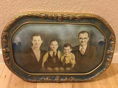 Vintage Antique Large Oval Blue Gold Frame Curved Bubble Glass Old Family Photo