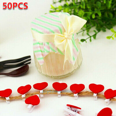 50pcs Mini Cute Wooden Heart Shaped Pegs Photo Clips Room Wedding Craft Decor