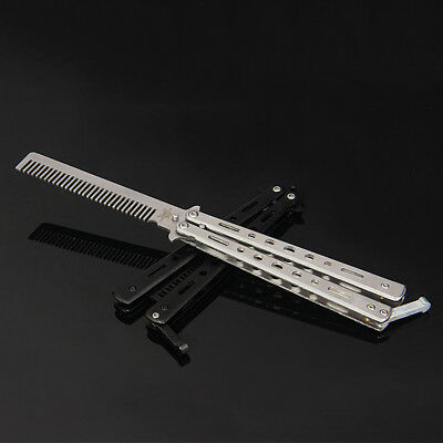 1 X Stainless Steel Practice Butterfly Balisong Training Knife Comb Tool