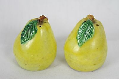 Vintage Pear Salt and Pepper Set Antique Japan Old Rare Fruit Yellow Collectable