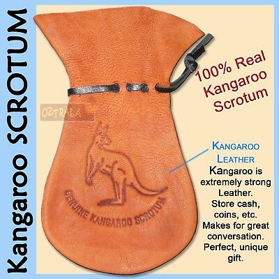 【oZtrALa】 Kangaroo SCROTUM Large Pouch REAL Australian Leather Wallet Coin Gift