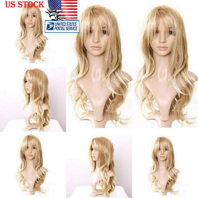 65cm Womens Natural Blonde Hair Wig Long Wavy Curly Hair Cosplay Party Full  Wigs 69bbd5f8b9