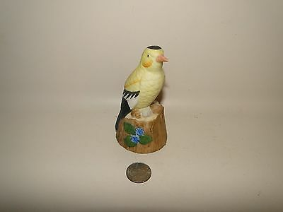"VINTAGE BISQUE BIRD FIGURINE BELL  ORIOLE BIRD MADE BY JASCO TAIWAN, 4 3/8"" Tall"