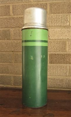 Vintage Xl Montgomery Ward 2 Tone Green Metal Thermos With Cork & Cup - 1 Qt.