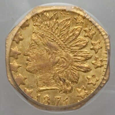 1874 Oct Indian G25C California Fractional Gold / BG-795 PCGS MS63