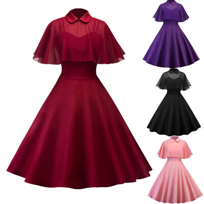1950's Women Retro Vintage Swing Mesh Cape Dress Evening Party Rockabilly Dress