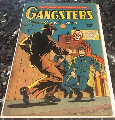 Gangsters Can't Win #1  gruesome pre-code Golden age crime comic complete, skull