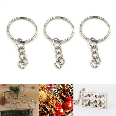 20 pcs/lot Keyring Blanks 25mm Dia Silver Tone Keychain 4 Link Chain 50mm-Leng