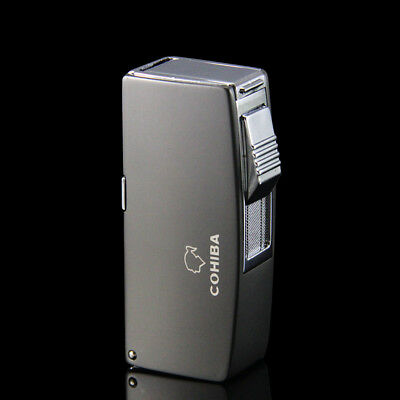 COHIBA Black Metal 2 Torch Jet Flame Cigar Lighter W/ 3 Punches