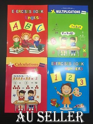 4 x Kids Handwriting Exercise Book English Number Math Education Activity Books