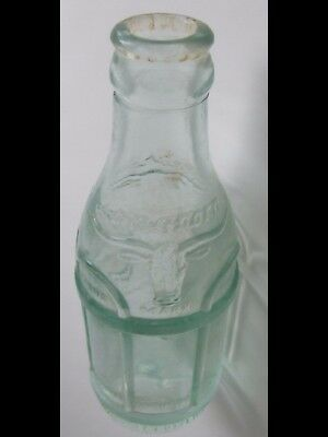 Vintage TEXAS LONGHORNS Glass Bottle by COCA~COLA  Embossed Bull EXTREMELY RARE