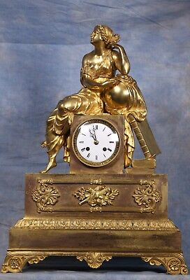 Large French Gilded Dore Ormolu Bronze Statue Clock Early 19th Century