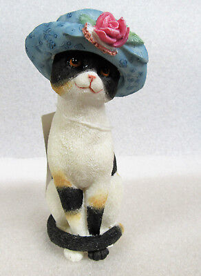 Island Creek ~ Sadie ~ Character Cat with Rose in Blue Hat Resin Figurine