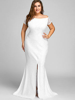 Plus Size Ladies Maxi Lace Bridesmaid Wedding Dress Formal ball gown Party Dress