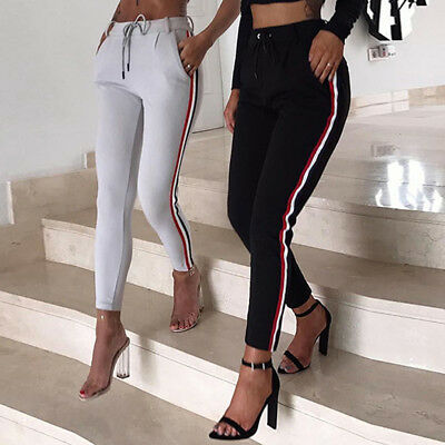 Women Fashion Casual Striped Pants Elastic High Waist Cropped Length Trousers