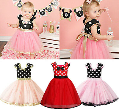 AU Stock Toddler Kids Baby Girls Bowknot Cosplay Party Princess Tulle Tutu Dress