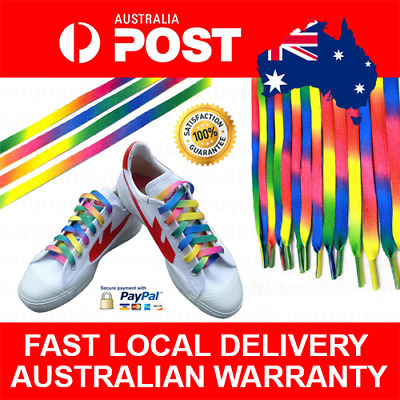 1 Set Colorful Rainbow Multi Coloured Flat Shoelaces Colourful Shoe Laces