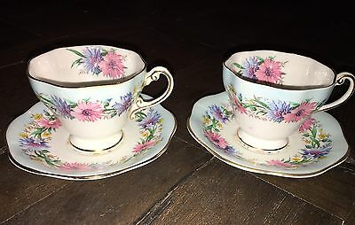 EB Foley Cornflower Demitasse Tea Cup & Saucer Sets (2) Pale Blue Bone China