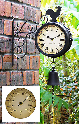 Cockerel and Bell Garden Outdoor Clock & Thermometer Bracket Mounted 47cm 18¾in