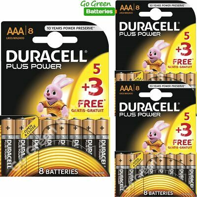 24 x Duracell AAA Plus Power Batteries Best Before 2026 - LR03, MICRO, MN2400