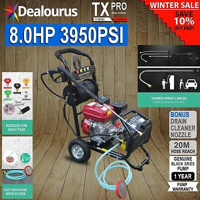 Petrol Pressure Washer - 8.0HP 3950psi AWESOME POWER T-MAX PRO 20 METER HOSE