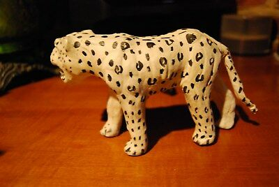Leather handcrafted snow Leapard figurine