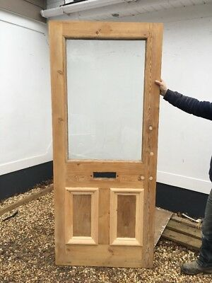 Victorian Etched Glass Front Door Period Old Antique Reclaimed Pine Wood Used.