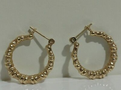 Vintage 14K Solid Gold Bamboo Hoops Classic Design