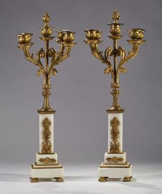 Pair French 19C Brass Ormolu Marble Candelabra Lot 291