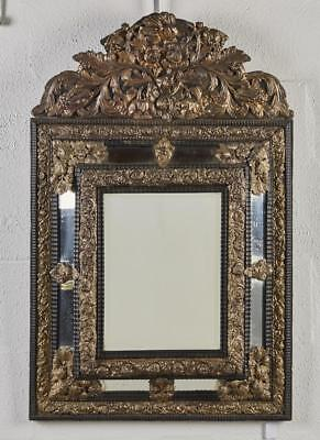 French 19C Louis XV Style Brass Repousse Mirror Lot 379