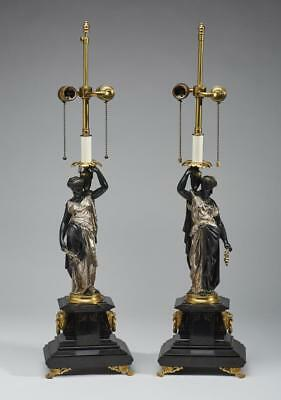 French Empire 19C Patinated Bronze Figural Lamps Lot 174