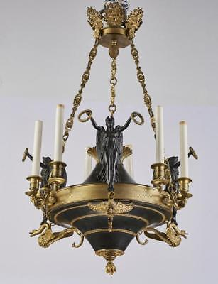 French Empire Style Bronze Six Light Chandelier Lot 7