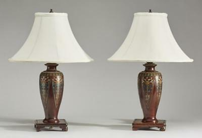 Pair of Japanese Art Deco Meiji Champleve Lamps Lot 151
