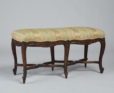 French 19C Carved Walnut Upholstered Bench Lot 395