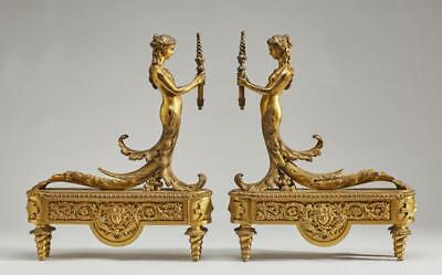 Pair French 19C Louis XV Gilt Bronze Nude Chenets Lot 276