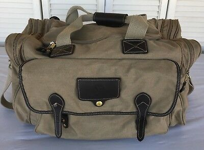 7c1323859e Eddie Bauer Ford Canvas   Leather Duffle Bag Overnight Travel Beige USA-Made