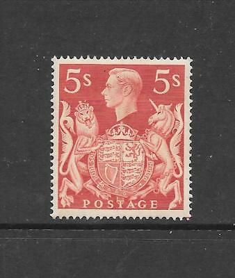 1939 King George VI SG477 5s. Red Mint Hinged GREAT BRITAIN
