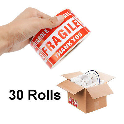 30 Rolls 500/Roll 2x3 Fragile Stickers Handle with Care Thank You Mailing Labels