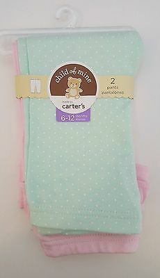 Carter's Child of Mine Baby Girl 2 Pack Pants Pink Green Dots 6-12 3-6 Months