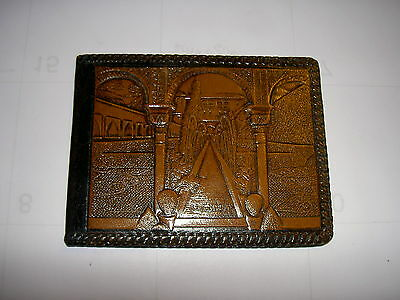VINTAGE LEATHER WALLET CARVED Made in Spain